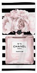 Chanel N.5, Black And White Stripes Beach Towel