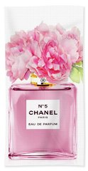 Chanel N5 Pink With Flowers Beach Towel