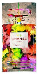 Chanel No 5 Grunge Beach Towel by Daniel Janda