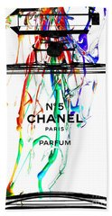 Chanel No. 5 Watercolor Beach Towel by Daniel Janda