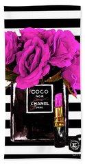 Chanel Noir Perfume With Flowers Beach Towel