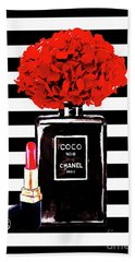 Chanel Poster Chanel Print Chanel Perfume Print Chanel With Red Hydragenia 3 Beach Towel