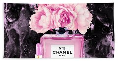 Chanel Print Chanel Poster Chanel Peony Flower Black Watercolor Beach Towel