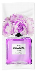 Chanel Print Chanel Poster Chanel Peony Flower Beach Towel