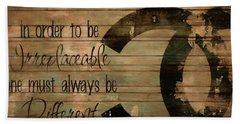 Chanel Wood Panel Rustic Quote Beach Towel