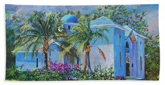 Chapel Of St. Panteleimon Beach Sheet by AnnaJo Vahle