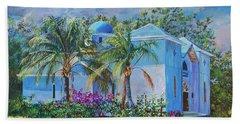 Chapel Of St. Panteleimon Beach Sheet by AnnaJo Vahle