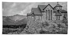 Chapel On The Rock - Black And White Beach Sheet