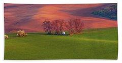 Beach Towel featuring the photograph Chapel St Barbara. Moravian Tuscany by Jenny Rainbow