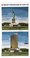 Chapter 11 Lady Liberty Beach Towel by Joe  Palermo
