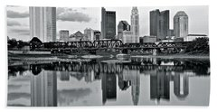 Charcoal Columbus Mirror Image Beach Towel by Frozen in Time Fine Art Photography