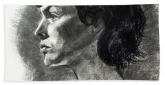 Charcoal Portrait Of A Pensive Young Woman In Profile Beach Towel
