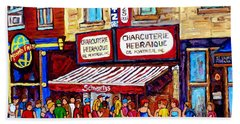 Charcuterie Hebraique Schwartz Line Up Waiting For Smoked Meat Montreal Paintings Carole Spandau     Beach Towel