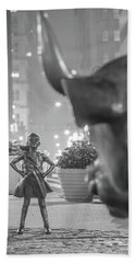 Charging Bull And Fearless Girl Nyc  Beach Towel