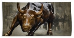 Charging Bull Beach Towel by Dyle Warren