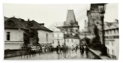 Beach Towel featuring the photograph Charles Bridge. Black And White. Impressionism by Jenny Rainbow