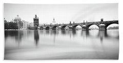 Charles Bridge During Winter Time With Frozen River, Prague, Czech Republic Beach Towel