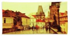 Beach Towel featuring the photograph Charles Bridge. Golden Prague. Impressionism by Jenny Rainbow