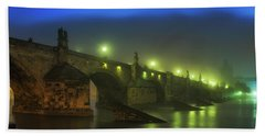 Charles Bridge Night In Prague, Czech Republic Beach Towel