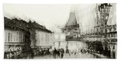 Beach Towel featuring the photograph Charles Bridge Promenade. Black And White. Impressionism by Jenny Rainbow