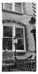 Charleston French Quarter Architecture - Window Street Lanterns Gothic French Black White Art Deco  Beach Towel