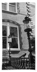 Beach Sheet featuring the photograph Charleston French Quarter Architecture - Window Street Lanterns Gothic French Black White Art Deco  by Kathy Fornal