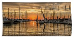 Charleston Harbor Marina Sunset Beach Towel