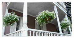 Charleston Historical District Front Porch Flowers - Charleston Homes Architecture Beach Towel
