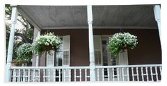 Charleston Historical Homes - Front Porches Hanging Summer Baskets Of Flowers Beach Towel