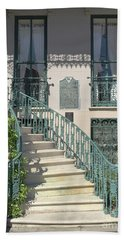 Beach Sheet featuring the photograph Charleston Historical John Rutledge House - Aqua Teal Gate Staircase Architecture - Charleston Homes by Kathy Fornal