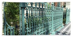 Beach Towel featuring the photograph Charleston Historical John Rutledge House Fleur Des Lis Aqua Teal Gate Fence Architecture  by Kathy Fornal
