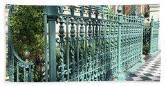 Beach Sheet featuring the photograph Charleston Historical John Rutledge House Fleur Des Lis Aqua Teal Gate Fence Architecture  by Kathy Fornal