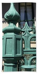 Beach Towel featuring the photograph Charleston John Rutledge House Fleur De Lis Symbols - French Quarter Architecture Gate Posts by Kathy Fornal