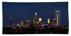 Charlotte Skyline During Blue Hour Beach Towel by Serge Skiba