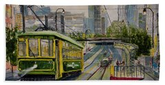 Charlotte Urban Cityscape And Streetcar  Beach Towel