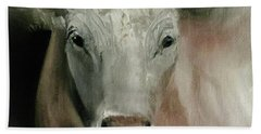 Charolais Cow Painting Beach Towel by Michele Carter