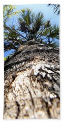 Beach Towel featuring the photograph Charred Palm Tree by Chris Mercer