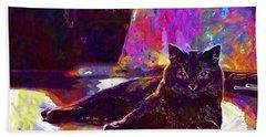 Beach Sheet featuring the digital art Chartreux Cat Animals Pet Mieze  by PixBreak Art