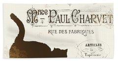 Chat Noir Paris Beach Towel