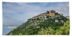 Chateau D'eze On The Road To Monaco Beach Towel by Allen Sheffield