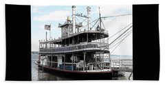 Chautauqua Belle Steamboat With Ink Sketch Effect Beach Towel