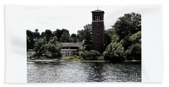 Chautauqua Institute Miller Bell Tower 2 With Ink Sketch Effect Beach Towel