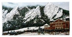 Beach Towel featuring the painting Chautauqua - Winter, Late Afternoon by Tom Roderick