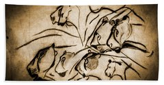 Chauvet Cave Lions Burned Leather Beach Towel