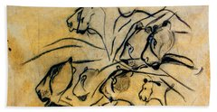 chauvet cave lions Clear Beach Towel