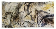 Chauvet Horses Aurochs And Rhinoceros Beach Towel