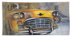 Checker Taxi Beach Sheet by Vali Irina Ciobanu