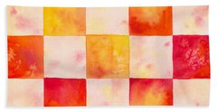 Checkerboard Watercolor Beach Towel by Kristen Fox