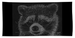 Cheeky Little Guy - Racoon Pastel Drawing Beach Towel