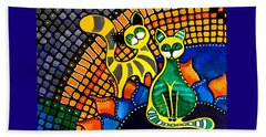 Cheer Up My Friend - Cat Art By Dora Hathazi Mendes Beach Towel